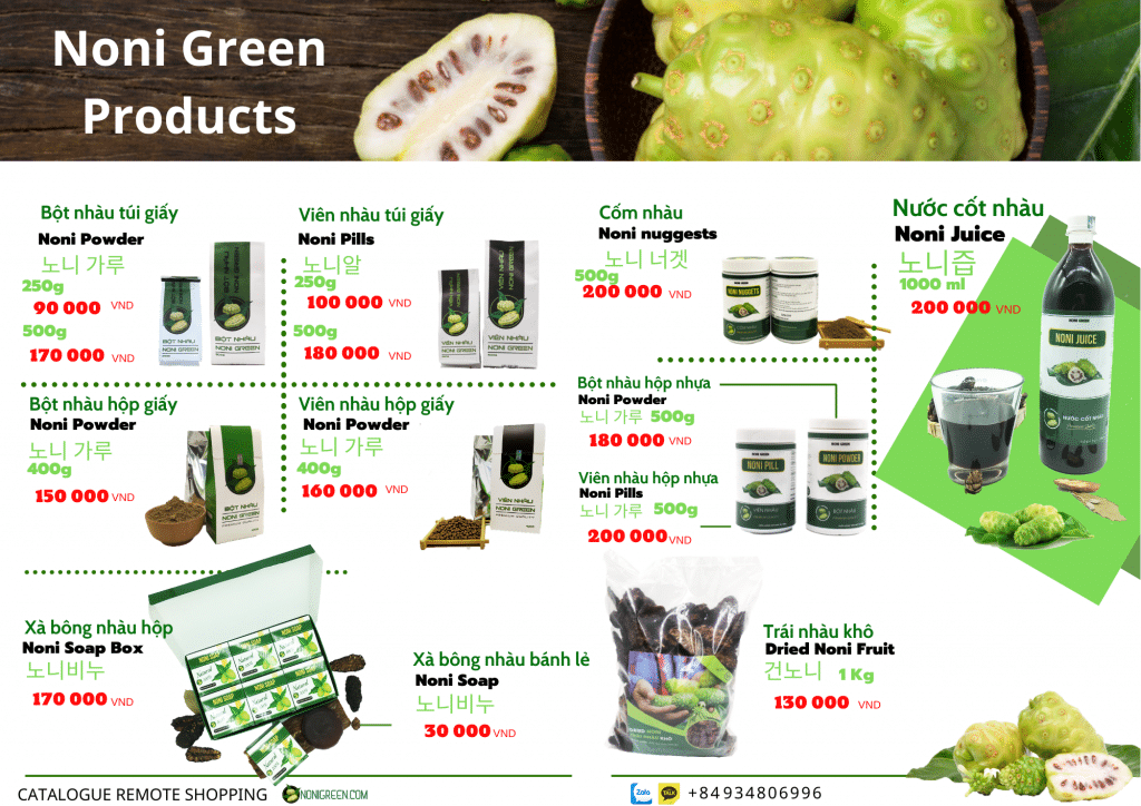 Bảng giá sản phẩm Noni Green
